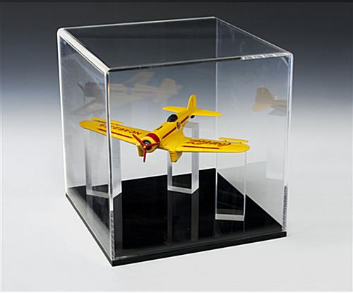13x13 Acrylic Display Case w/Removable Riser, Lift-Off Top & Black Base
