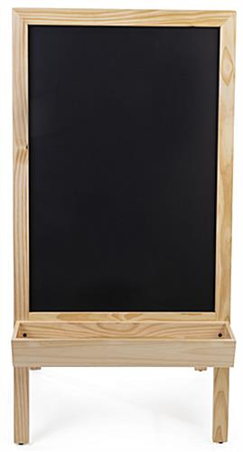 Chalkboard sidewalk sign with planter bottom also supports writeable markers
