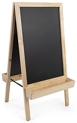 Chalkboard sidewalk sign with planter bottom and double write-on surfaces