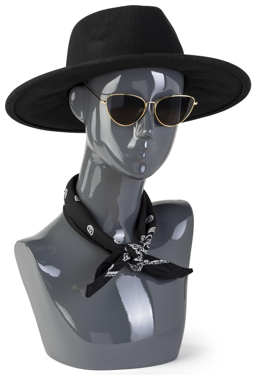 Displays2go Female Mannequin Bust with Abstract Facial Fe...