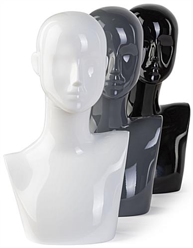 White Female Mannequin Bust in Three Different Colors