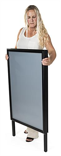 Portable sidewalk sign holder with PVC lenses