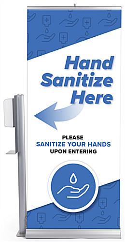 Lightweight automatic hand sanitizer banner stand weighs 8 pounds