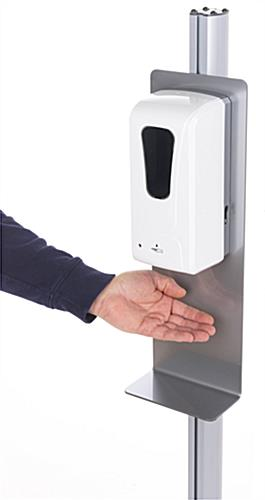 Automatic hand sanitizer banner stand with hands-free dispensing