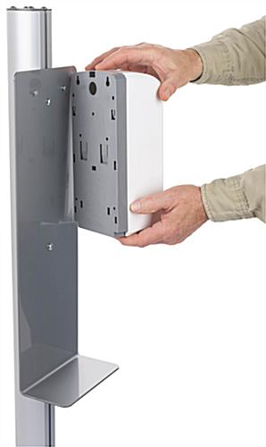 Automatic hand sanitizer banner stand with keyhole design