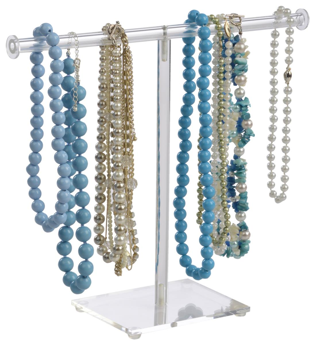 T bar necklace display acrylic jewelry stand for long chains for Jewelry displays
