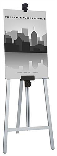 Silver Metal Fold-Up Easel with Height Adjustment for Artwork