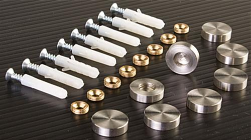 Stainless Steel Standoffs Screw Covers For Wall Mount Signs