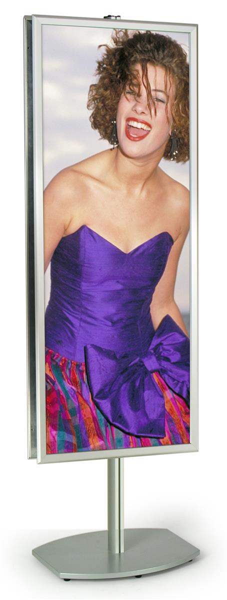 Displays2go 22 x 56 Poster Stand , Snap Opens, 6 Feet Tal...
