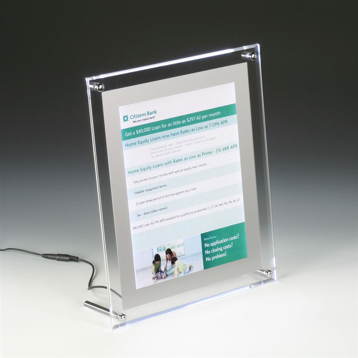 8 5 x 11 Acrylic Sign Holder for Tabletop or Wall, LED Illuminated - Clear