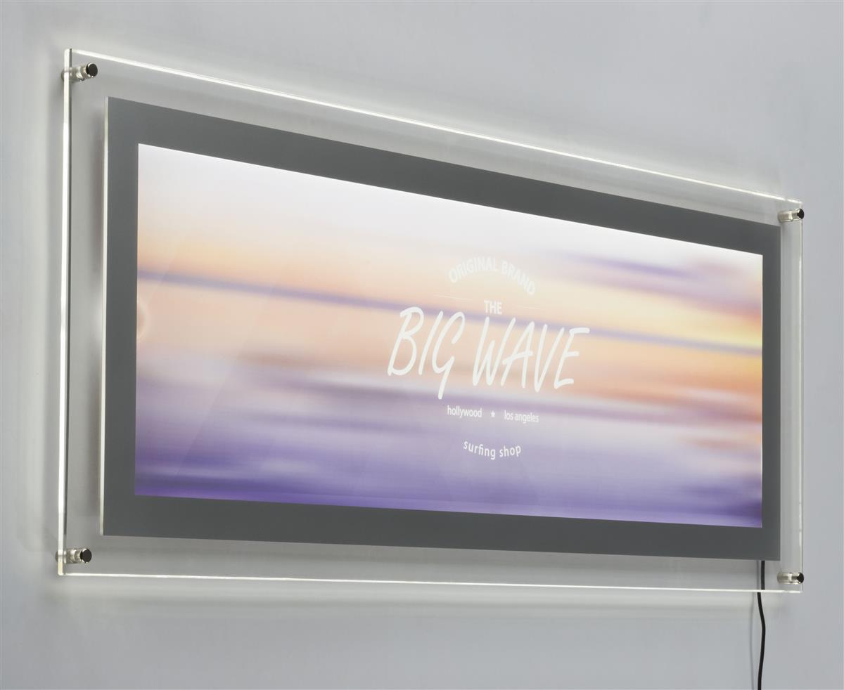 Displays2go 34 x 11 Acrylic Sign Holder for Wall Mount Us...