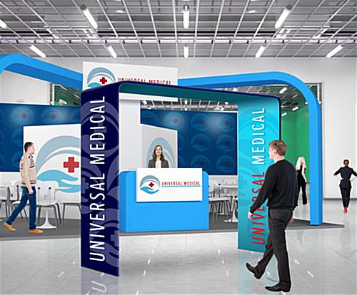 Custom square trade show booth arch in trade show environment