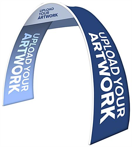 Personalized oval trade show archway with custom messaging for advertising