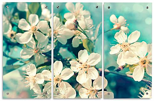 "Floral Triptych with Three 15"" x 30"" Panels"