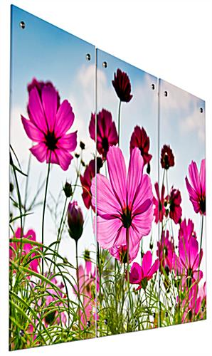 Full Color Pink Flower Triptych Wall Art