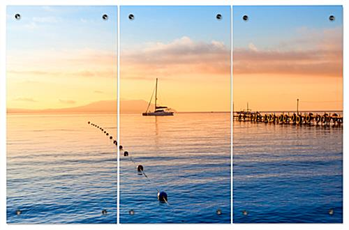 Ocean Sunset Triptych with Second Surface Printing Application