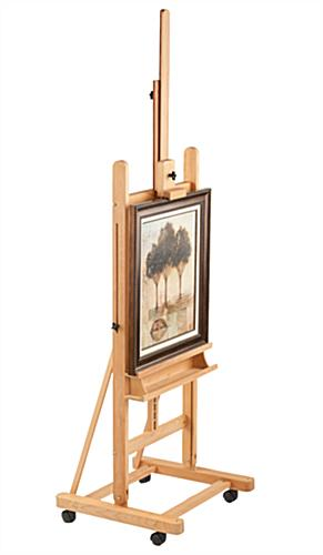 Wood Canvas Easel Includes Wheels Amp Height Adjustability