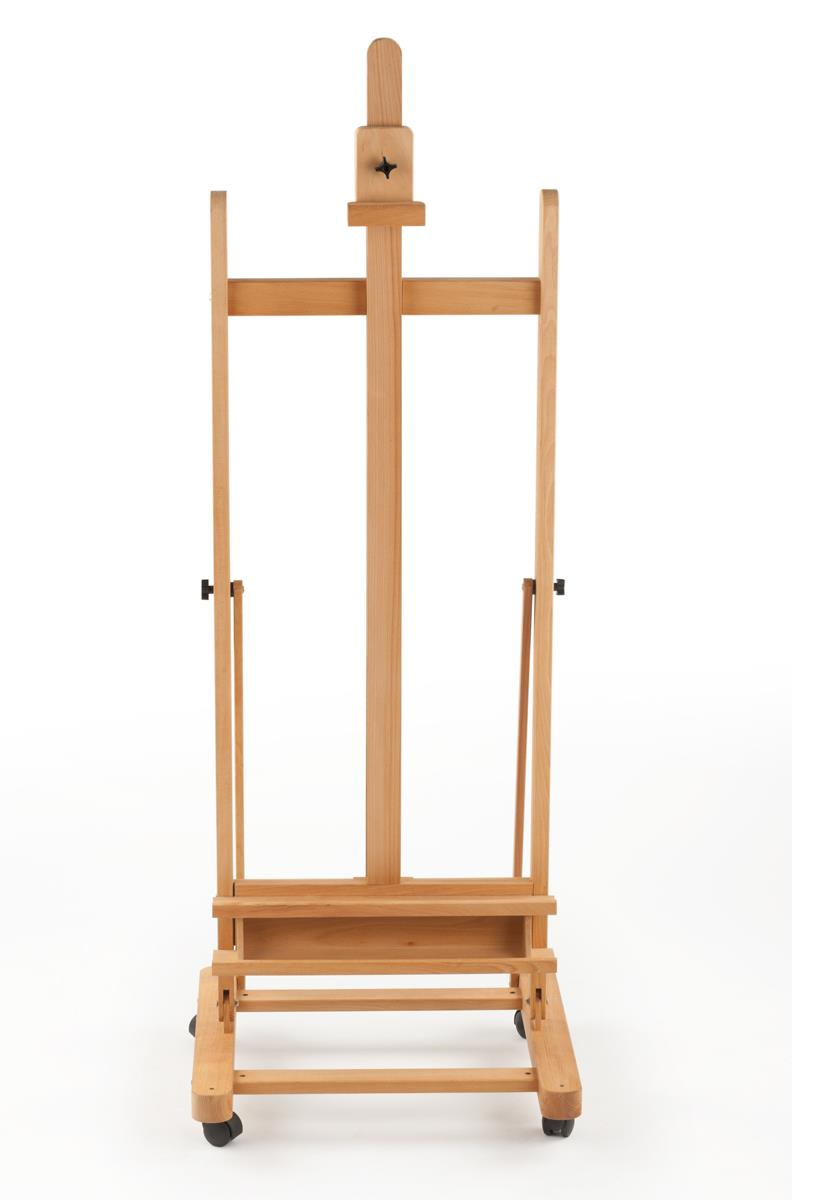 Wood Canvas Easel With Wheels Amp Adjustable Height Natural
