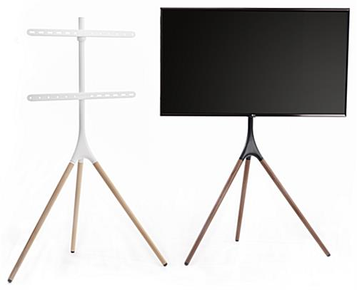 Wooden tripod TV stand in semi-gloss white metal and light wood color