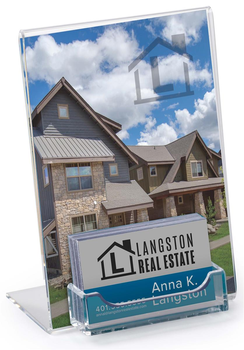 "Business Card Display with 5"" x 7"" Acrylic Sign Holder"