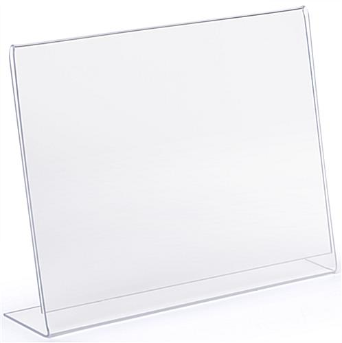 High-quality angled glare free clear plastic horizontal sign holder