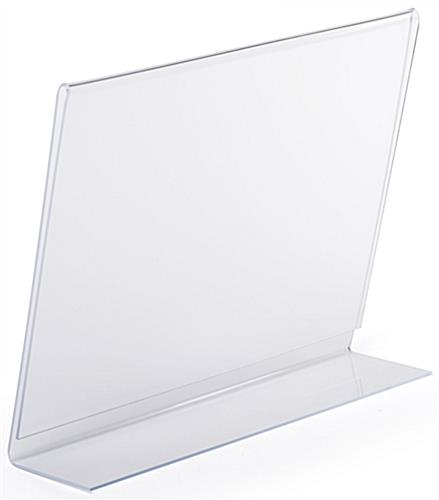 Countertop angled glare free clear plastic horizontal sign holder
