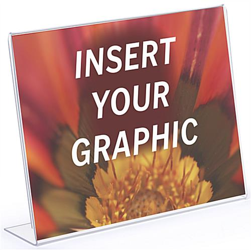 Acrylic angled glare free horizontal sign holder with insert your graphics