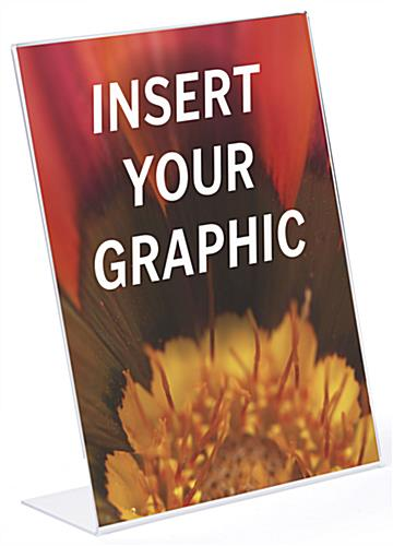 Glare free slant back acrylic sign with insert your graphic image
