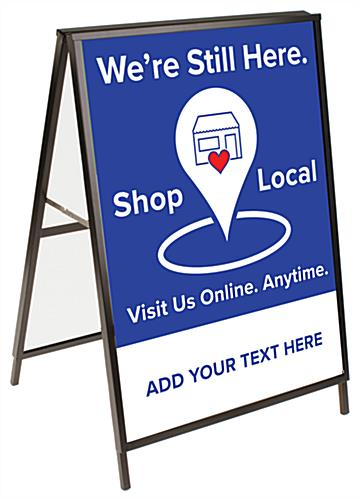 Outdoor shop local pavement sign with pre-printed graphics included