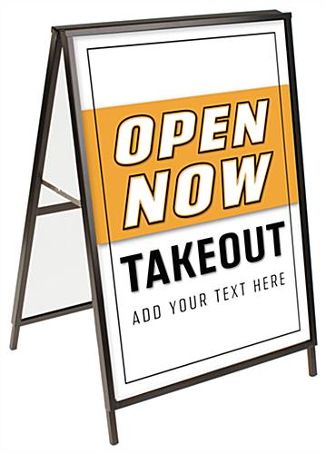 Open for Takeout A-frame sign with pre-printed posters
