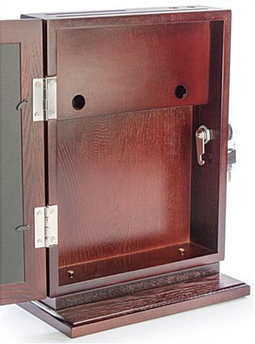 Red Mahogany Wall Mounted Ballot Box Lock Pen