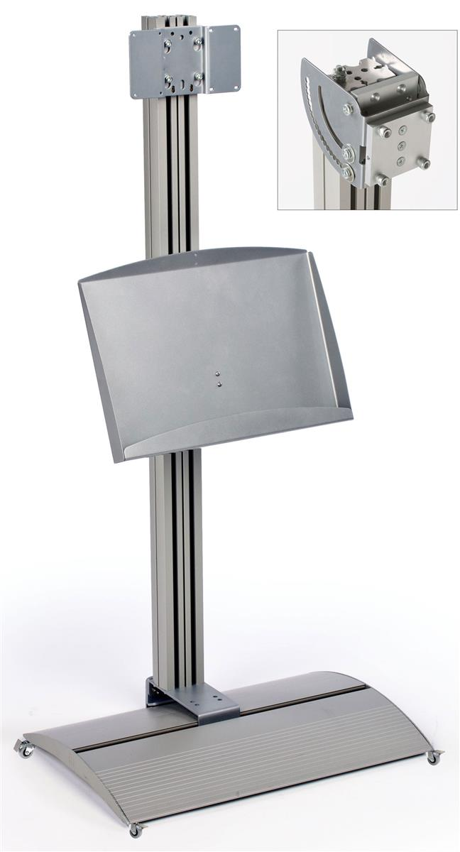 Displays2go TV Stand w/ Literature Tray, Tilting Bracket,...