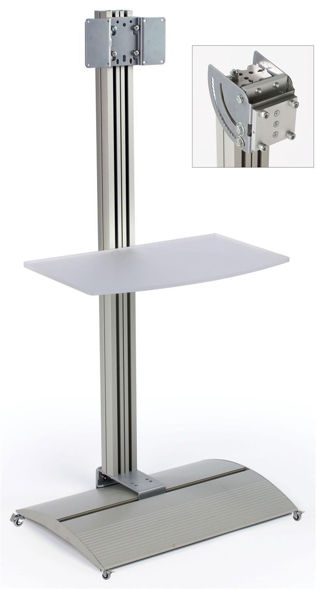 Displays2go TV Stand with Acrylic Shelf, Tilting Bracket,...