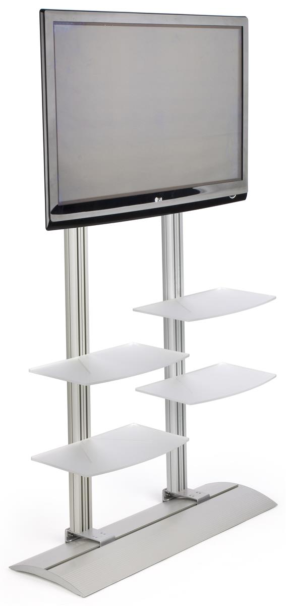 Displays2go TV Stand with 4 Acrylic Shelves, Fits Monitor...