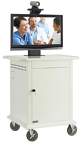 White Video Conferencing Cart