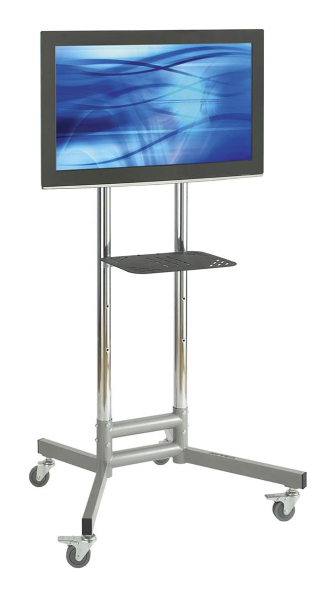 Displays2go TV Cart with Height-adjustable Shelf, Fits Mo...