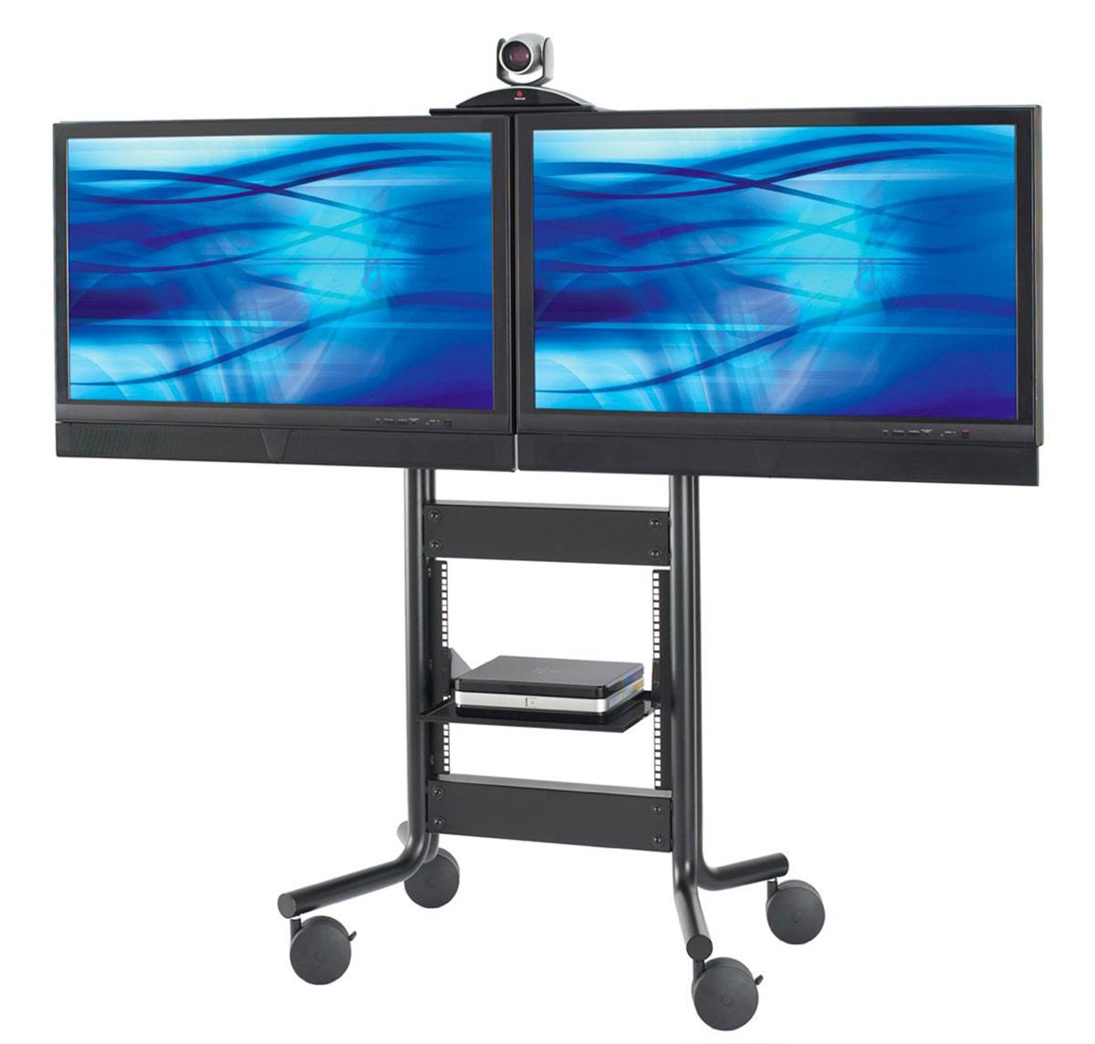 These Dual Tv Stands On Wheels Have A Moveable Camera Shelf These