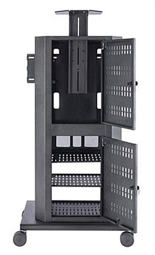 Office Audio Visual Cart W Rack Mount Storage Amp Glass Door