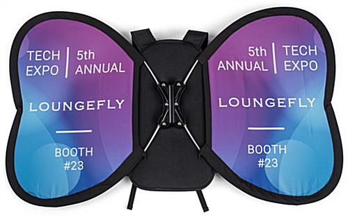 Butterfly wing-shaped backpack banner advertising