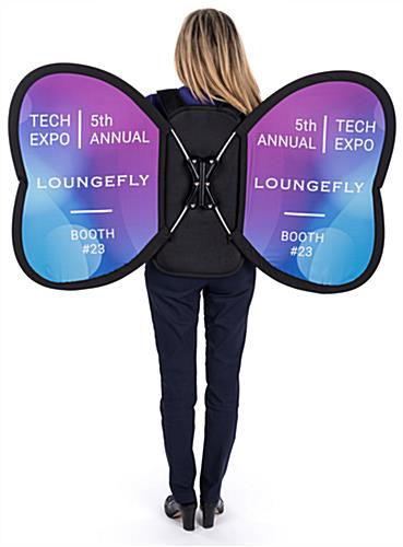 Wearable wing-shaped backpack banner advertising