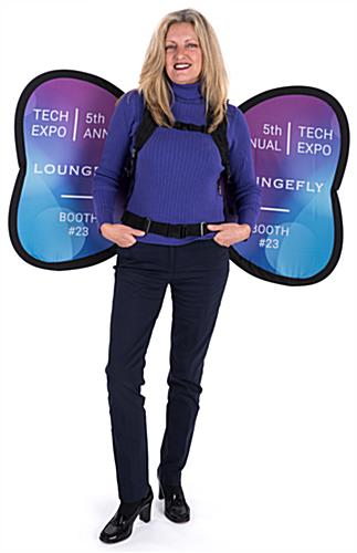 Double-sided wing-shaped backpack banner advertising