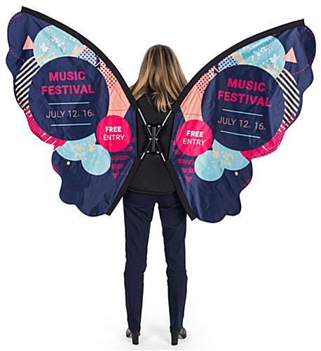 Unique shaped walking butterfly backpack advertising