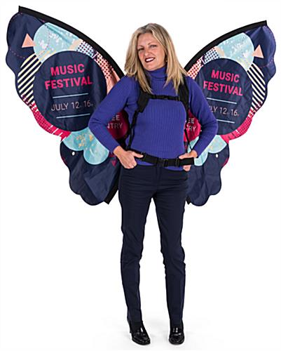 Branded walking butterfly backpack advertising
