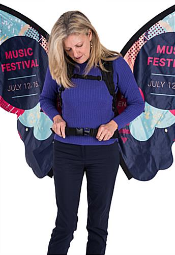 Adjustable walking butterfly backpack advertising