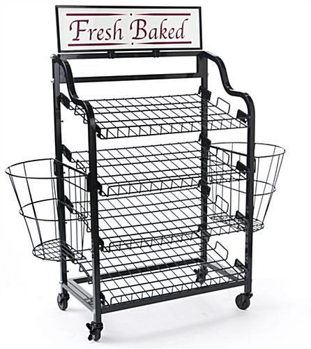 Floor Standing Bread Stand Side Baskets Wheels For Mobility