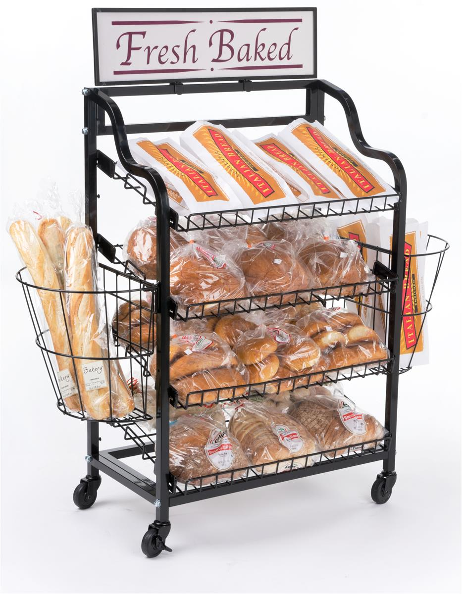 Displays2go Bakery Display Rack w/ Wheels, 4 Shelves, 2 S...