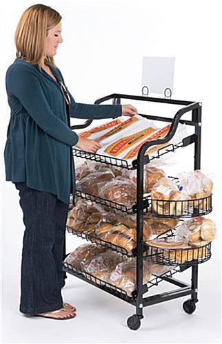 Black Mobile Bread Rack 4 Side Shelf Attachments