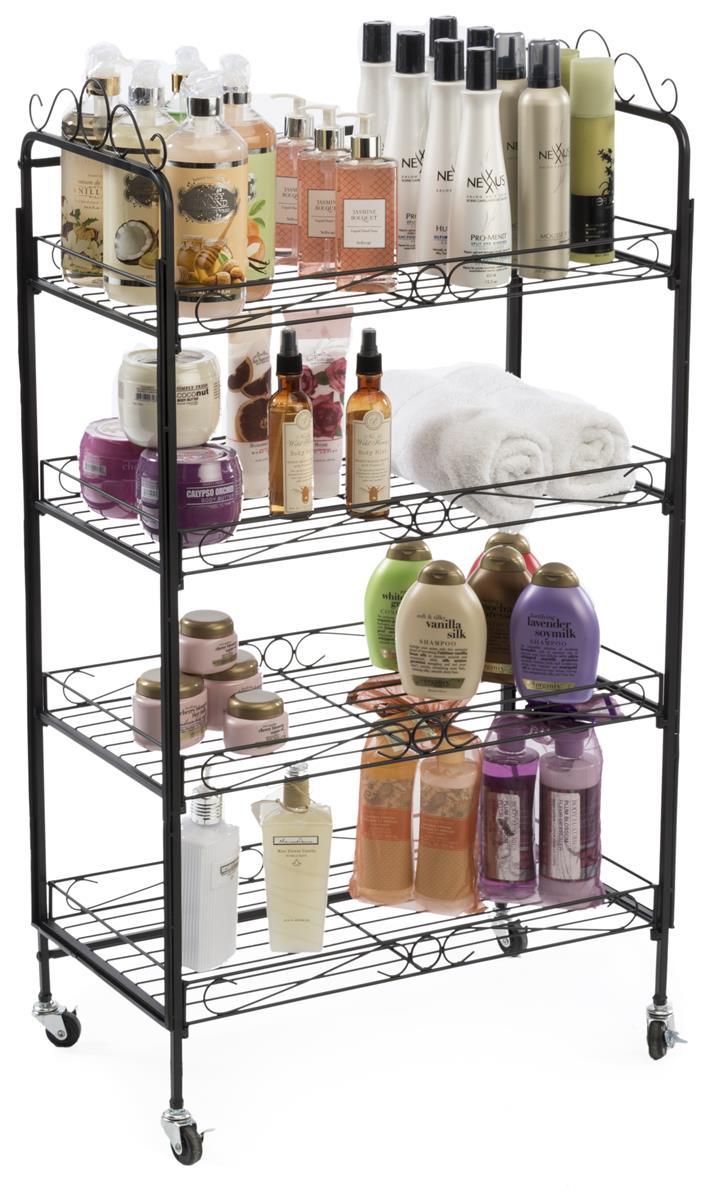 4 Shelf Bakers Rack Open Space Shelves Amp Locking Wheels