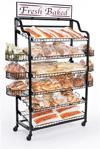 Retail Store Bakery Stand Includes 6 Side Shelves