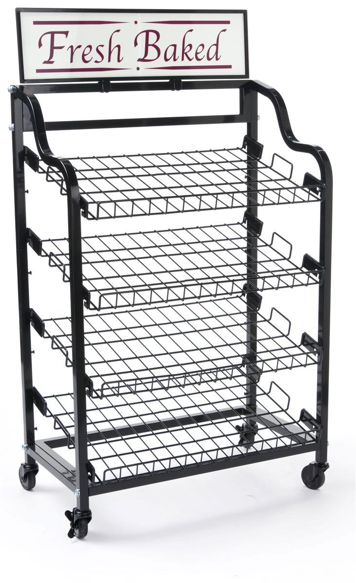 Angled Shelf Bakery Racks Custom Header Included